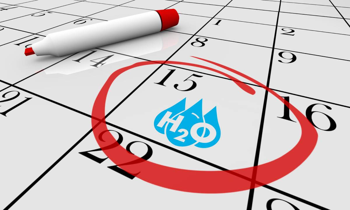 Water H20 Drinkable Clean Resource Calendar Day Date Circled 3d Illustration
