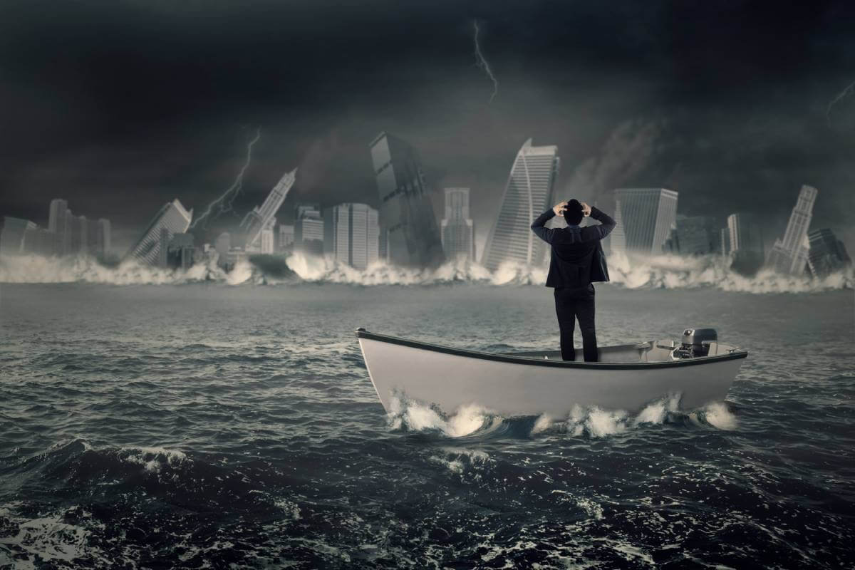 Lost businessman in the boat