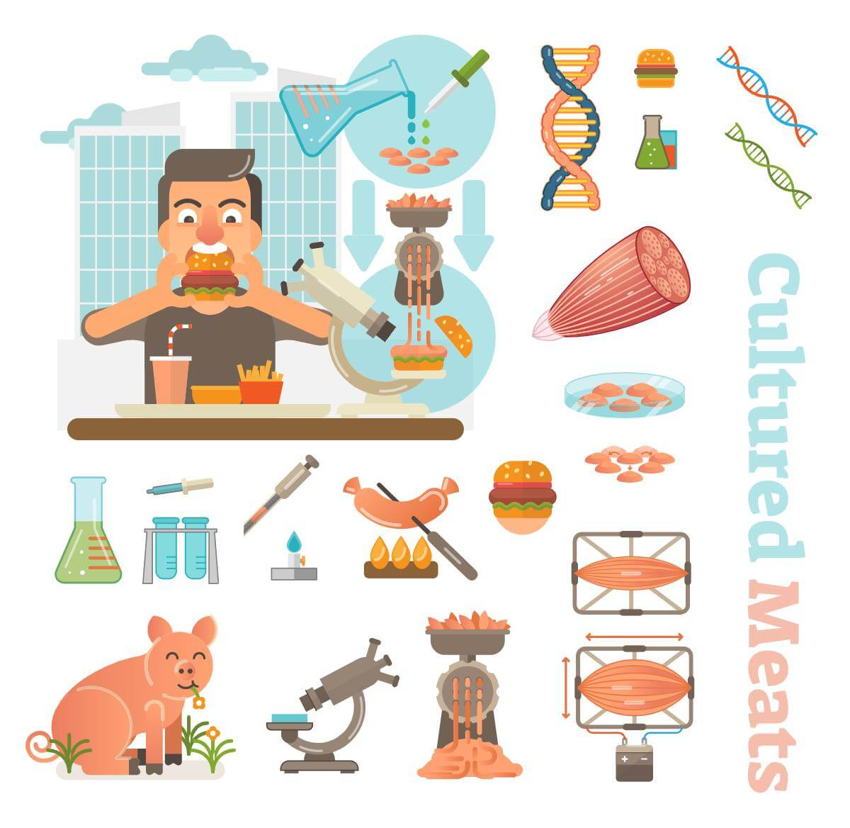Male eating hamburger produced from a cultured meat in a laboratory on a city scene background