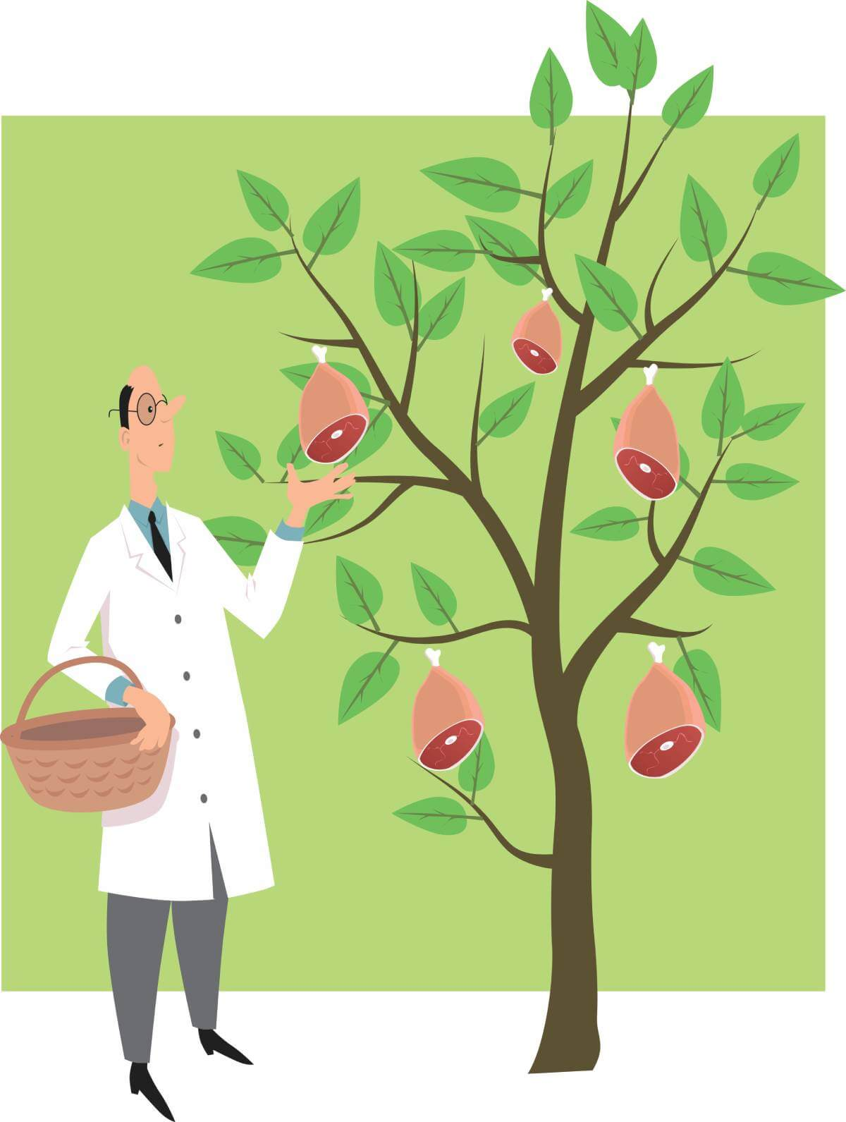 Scientist picking ham from a tree
