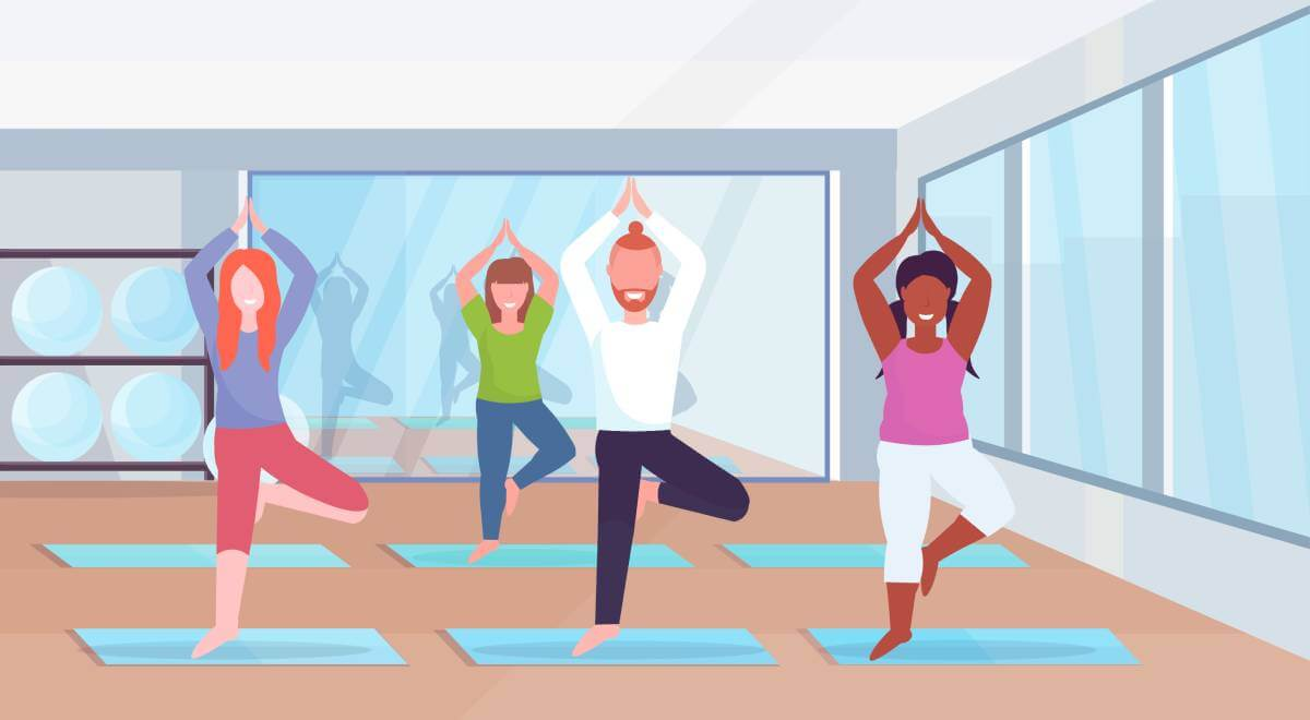 sporty man women group doing yoga exercises mix race people meditating standing in tree position