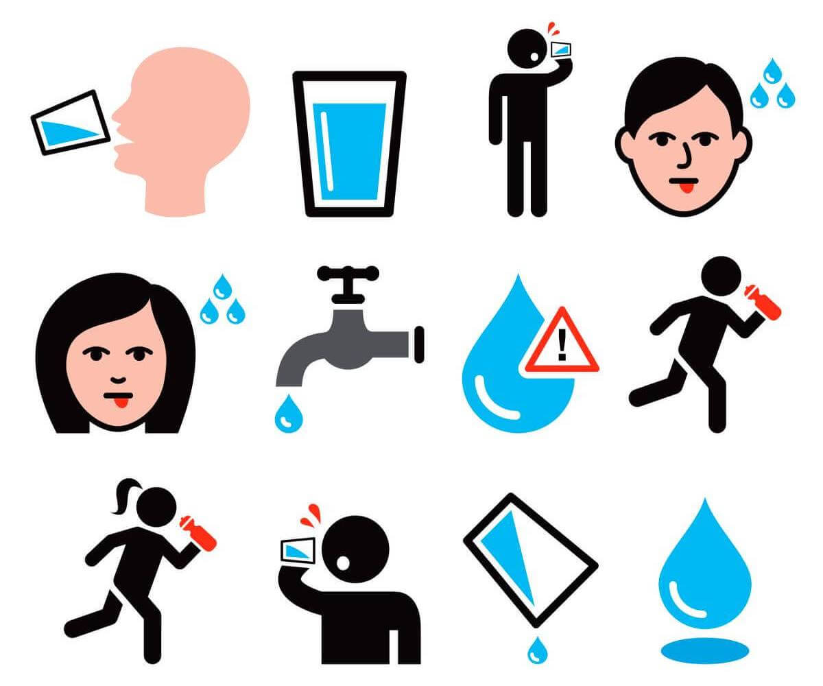people drinking water icons set
