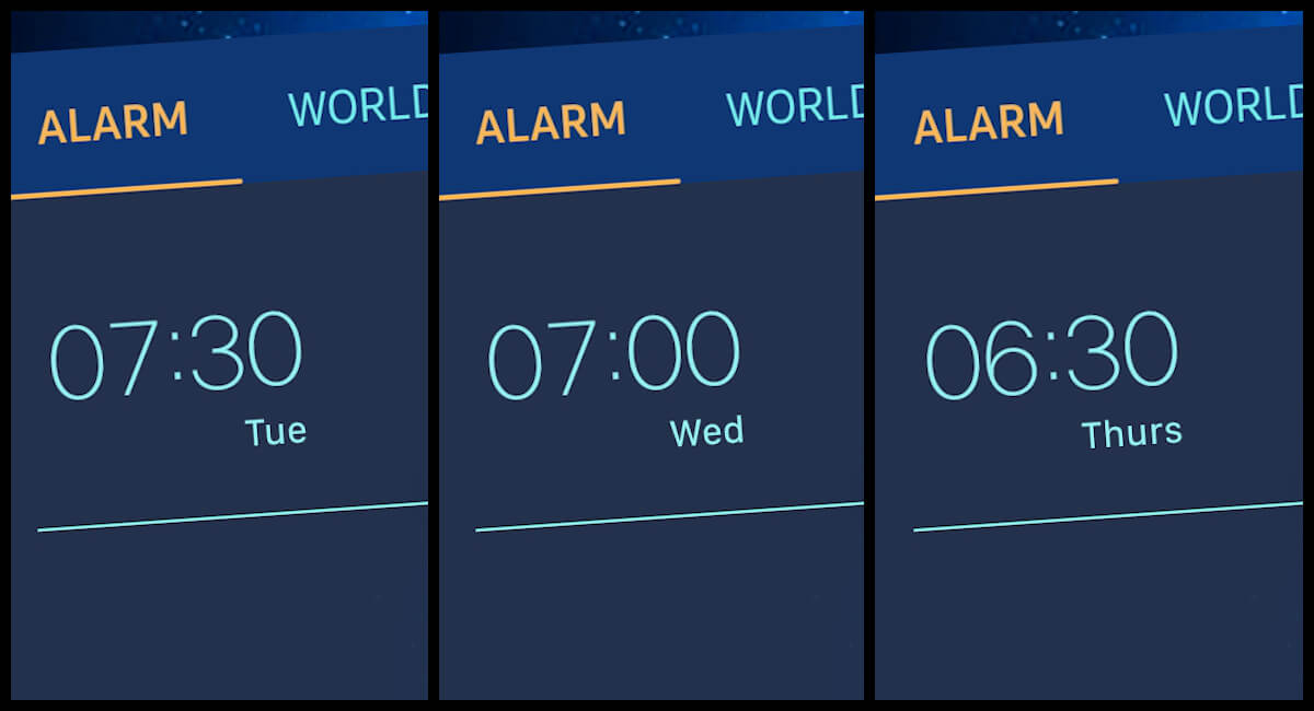 different alarms set for weekdays